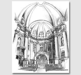Schizzo in chiaroscuro del presbiterio del Santuario di Sommariva del Bosco